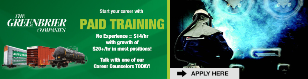 Start your career with paid training at The Greenbrier Companies - Apply Here